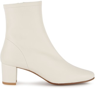 BY FAR Sofia 65 Off-white Leather Ankle Boots