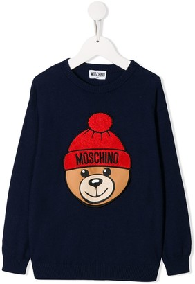 MOSCHINO BAMBINO Embroidered Teddy Logo Jumper
