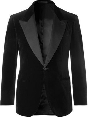 Kingsman Black Grosgrain-Trimmed Cotton-Velvet Tuxedo Jacket
