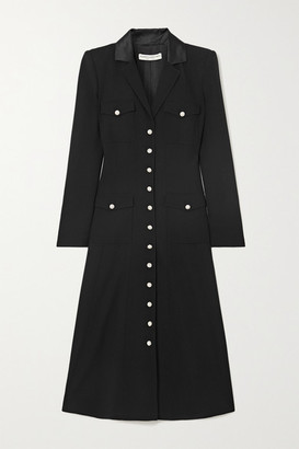 Alessandra Rich Satin-trimmed Wool-blend Crepe Midi Shirt Dress - Black