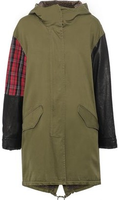 Current/Elliott The Harper Leather And Checked Jacquard-paneled Cotton-blend Twill Hooded Parka