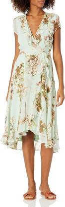 Julian Taylor Women's Short Sleeve Floral Ruffled Dress