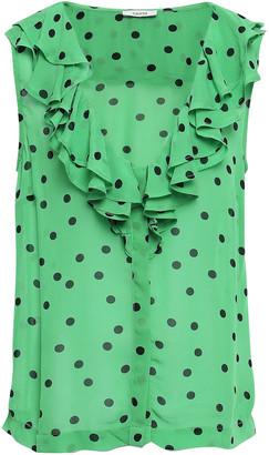 Ganni Dainty Ruffled Floral-print Georgette Top