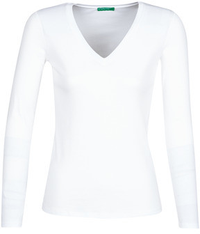 Benetton 3GA2E4245 women's Long Sleeve T-shirt in White