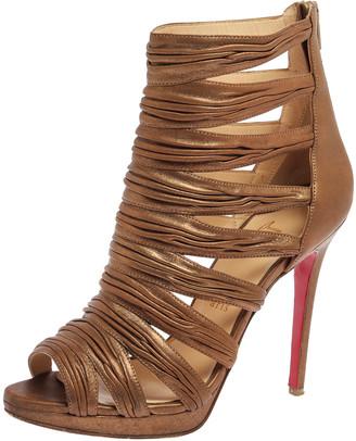 Christian Louboutin Metallic Bronze Leather Tinazata Cutout Sandals Size 38.5