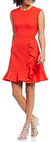 Vince Camuto Crepe Front Ruffle Skirt Cap Sleeve Fit-and-Flare Dress