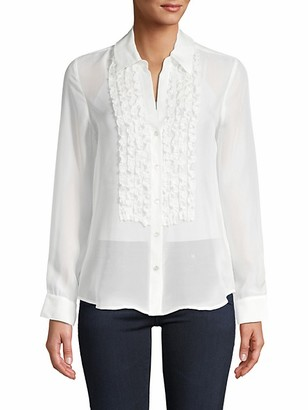L'Agence Ruffled-Trim Silk Shirt