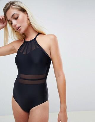Pour Moi? Pour Moi Fuller Bust Beachbound high neck swimsuit in black