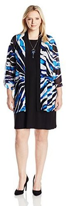 Tiana B T I A N A B. Women's Plus Size Printed Chiffon Jacket with Shift Dress Black/Blue 20W
