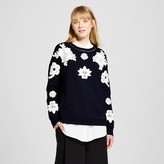 Victoria Beckham for Target Women's Navy and White Floral Lace Appliqué Sweat Top