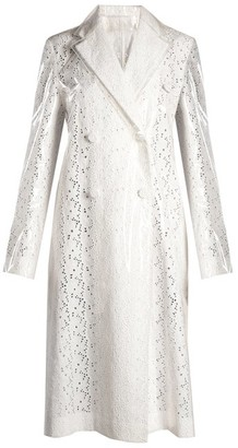 Calvin Klein Coated-overlay Broderie-anglaise Coat - Womens - White
