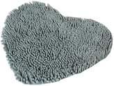 Winterworm Super Soft Lovely Heart Love Shaped Pad Chenille High Absorption Rug Shaggy Door Mat Doormat Carpet Bathroom Kitchen Home Floor Decoration (, Grey)