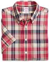 Brooks Brothers Regular Fit Plaid Madras Short-Sleeve Sport Shirt