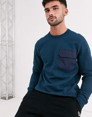 Paul Smith contrast pocket sweat in teal-Blue