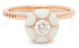 Selim Mouzannar Sea Flowers Diamond 18kt Rose Gold Ring - Womens - Ivory