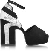 Pierre Hardy Roxy Black Suede and Silver Ayers Platform Sandal