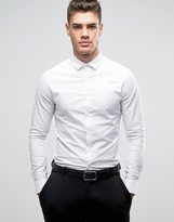 Asos Smart Skinny Oxford Shirt With Double Cuff