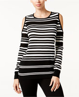 Thalia Sodi Striped Cold-Shoulder Sweater, Only at Macy's