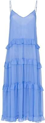 Les Rêveries V-neck ruffle silk dress