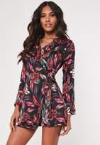 Missguided Petite Navy Tropical Print Blazer Dress