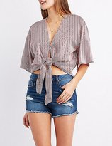Charlotte Russe Kimono Sleeve Tie-Front Crop Top