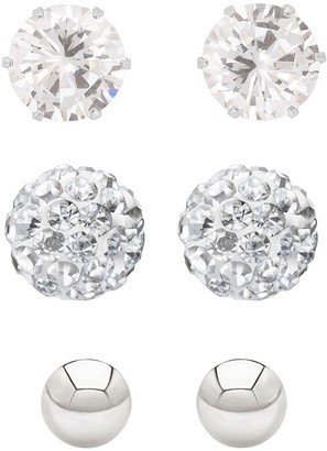 Sterling Silver 4mmPolished Ball, 5mm CZ Stud and 6mmCrystal Ball Earring Set