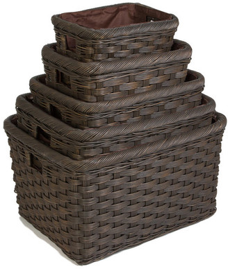 The Basket Lady Jumbo Wicker Storage Basket, Antique Walnut Brown, Small