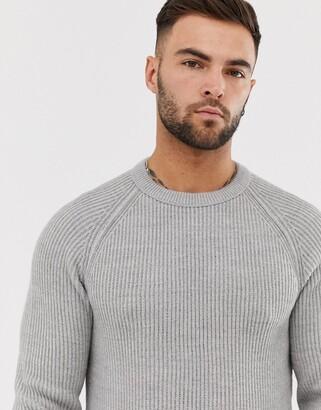 Jack and Jones Originals crew neck knitted jumper in grey