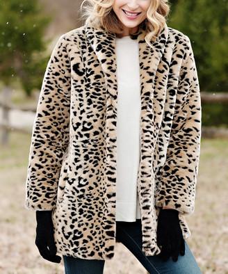 Donna Salyers' Fabulous Faux Furs Donna Salyers' Fabulous-Faux Furs Women's Car Coats Cheetah - Brown Cheetah Shawl-Collar Faux-Fur Car Coat - Women & Plus