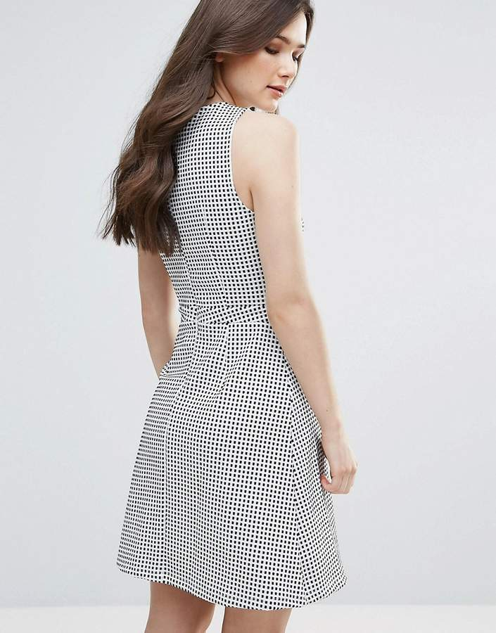 Vero Moda Check Skater Dress With Cut Out