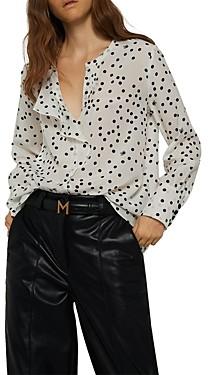 Marella Albano Dot Print Ruffled Blouse