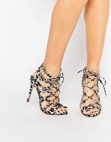 Faith D'Angelo Zebra Pony Effect Ghillie Tie Up Sandals