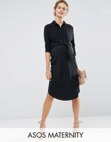 Asos Midi Shirt Dress With Tie Front