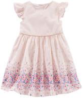 Osh Kosh Oshkosh Round Neck Short Sleeve Dress- Baby Girls