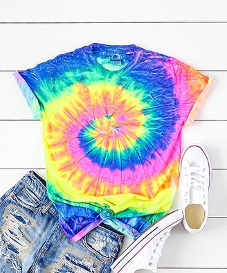 Party On! Women's Tee Shirts Neon - Neon Rainbow Swirl Tie-Dye Crewneck Tee - Women