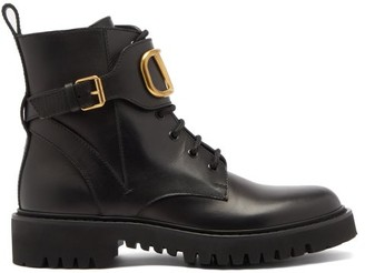 Valentino V-logo Lace-up Leather Boots - Black