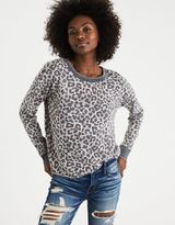 American Eagle Outfitters AE Leopard Crew Sweatshirt
