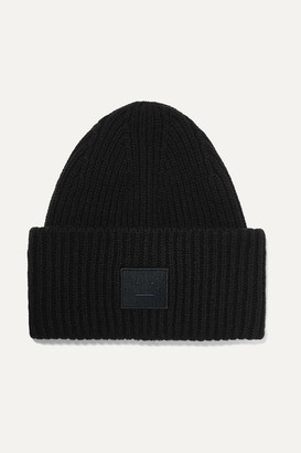 Acne Studios Pansy Face Appliqued Ribbed Wool Beanie - Black