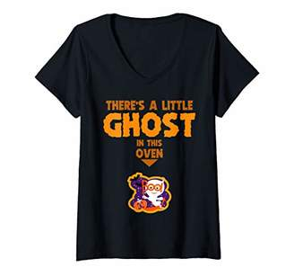Womens Couple's Pregnancy Announcement Funny Halloween for Women V-Neck T-Shirt