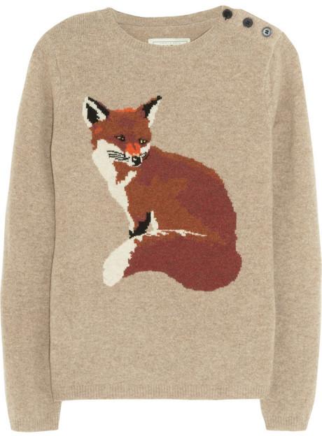 Aubin and Wills Portland fox-intarsia wool sweater