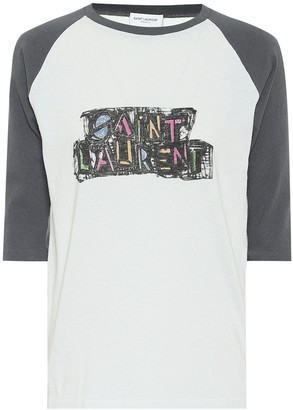 Saint Laurent Logo cotton-jersey T-shirt
