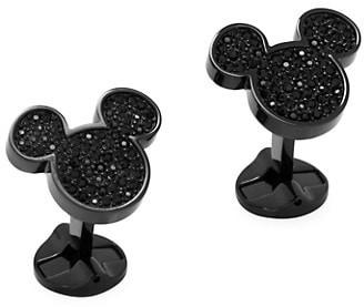 Cufflinks Inc. Disney Stainless Steel Black Pave Crystal Mickey Mouse Cufflinks