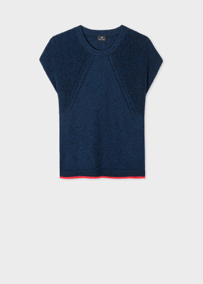 Paul Smith Women's Navy Knitted Cotton Top With Red Trims