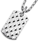 Zales Triton Men's Stainless Steel Studded Dog Tag Pendant