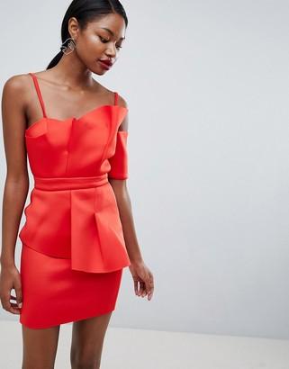 Asos Design ASOS PREMIUM Scuba Fan Front Cuff Mini Dress