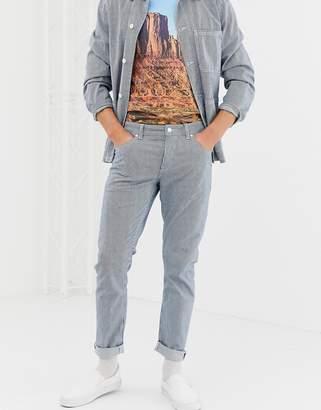 Asos Design DESIGN slim jeans in hickory stripe-White