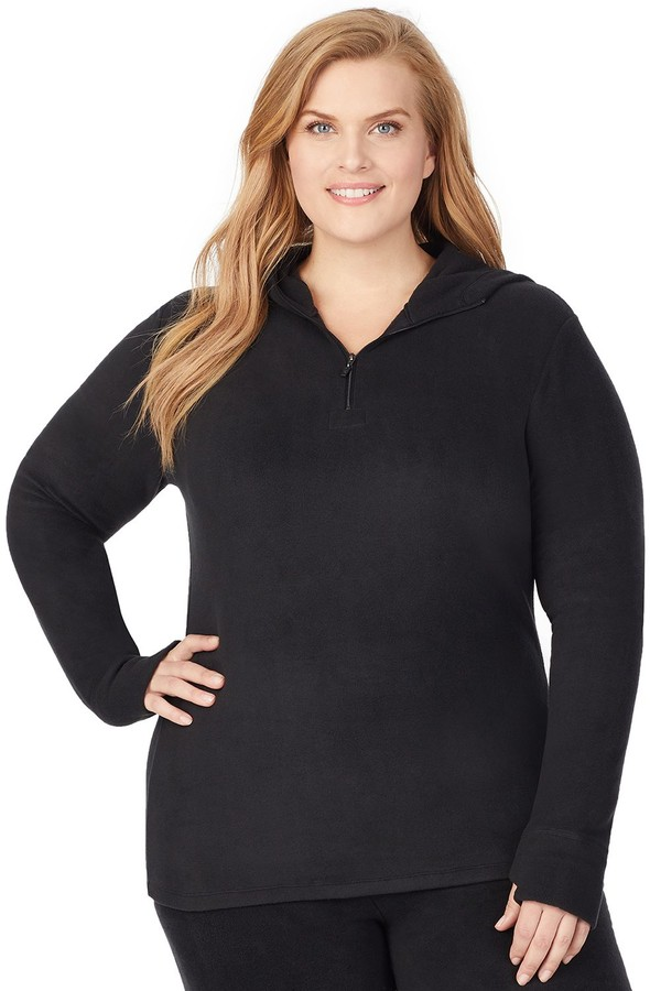Cuddl Duds Plus Size Fleecewear with Stretch Long Sleeve Half Zip Hoodie
