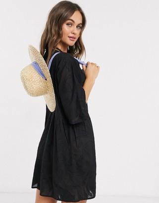 Influence burnout beach dress in black