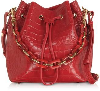 Croco Exotic Embossed Leather Bucket Bag
