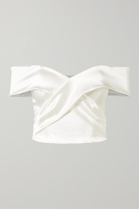Halfpenny London Kelly Off-the-shoulder Stretch-duchesse Satin Bustier Top - White